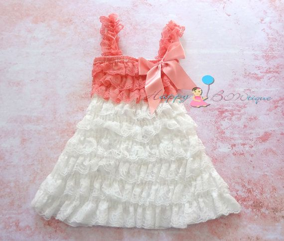 White and Coral Lace Dress, baby girls dress, white dress,baby dress,Birthday outfit, girls outfit, flower girl dress, baptism, Christening