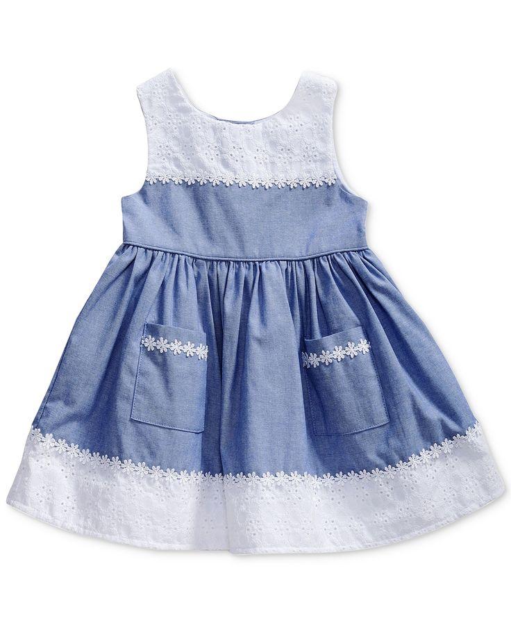 Sweet Heart Rose Chambray & Eyelet Dress, Baby Girls   macys.com