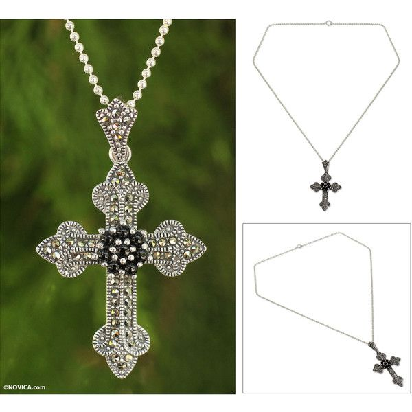 NOVICA Handcrafted Silver Cross Necklace with Onyx and Marcasite ($78) ❤ liked on Polyvore featuring jewelry, necklaces, marcasite, pendant, cross necklaces, crucifix necklace, silver cross necklace, crucifix pendant and chain necklaces