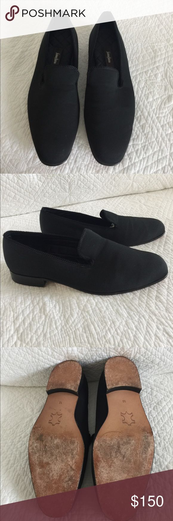 Neumann Marcus tux shoes black Great pair of men's tux shoes in black fabric Neiman Marcus Shoes Loafers & Slip-Ons