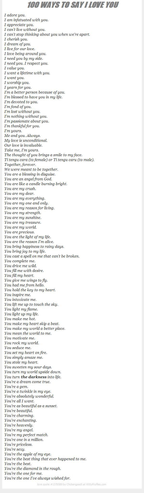100 Ways To Say I Love You                                                                                                                                                                                 More