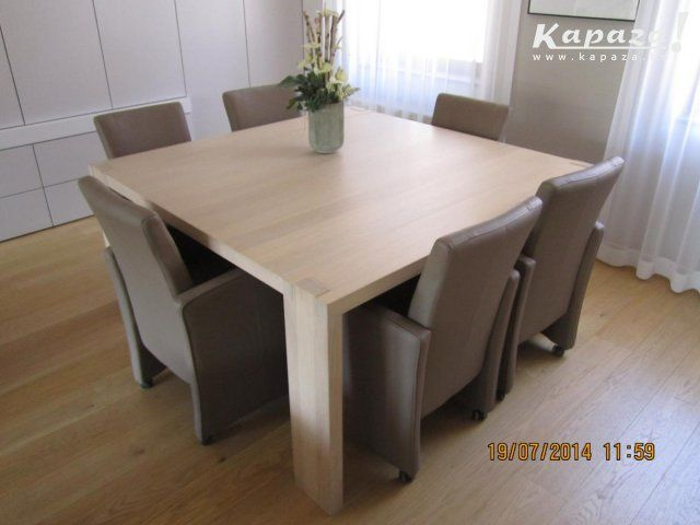 Moderne eetkamerset tafel 6 lederen armstoelen tafels leuven tafel pinterest - Rechthoekige lederen pouf ...