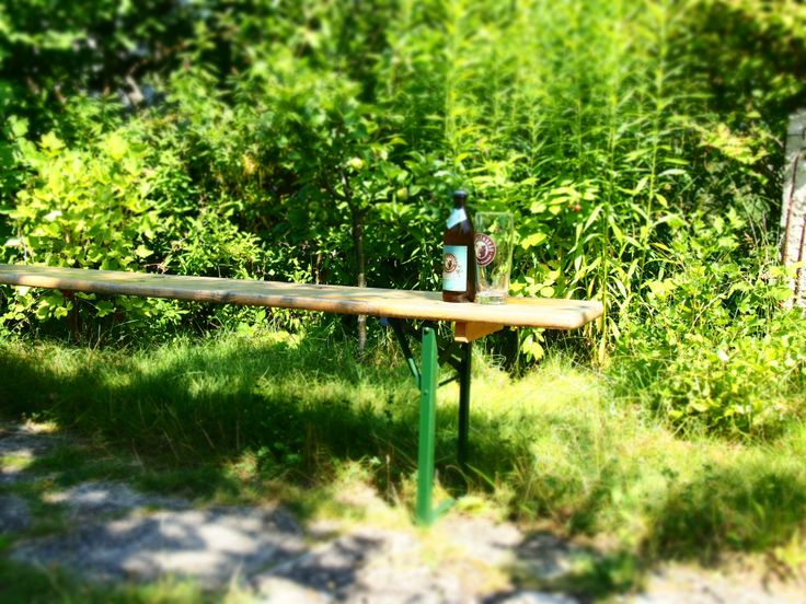 Still life with beer bench and franconian craft beer