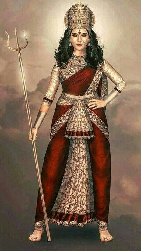 Goddess Durga. The Devi Puranas state that Durga is the warrior manifestation of Goddess Adishakti. Durga means the Invincible One. Therefore, Goddess Adishakti is the Divine Mother of the Universe who had taken birth on Earth as Parvati to win and woo Shiva.
