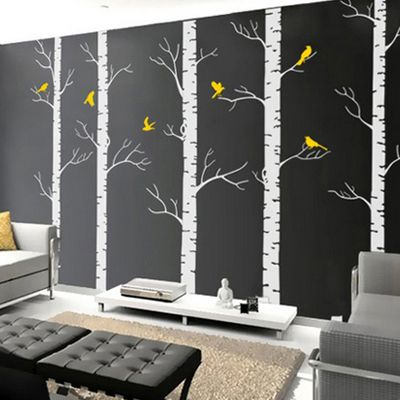 Birch Trees Wall Decal I Wana Do This In My New Room Except Yellow Walls And A Black Silhouette Of N Birds 2018 Pinterest