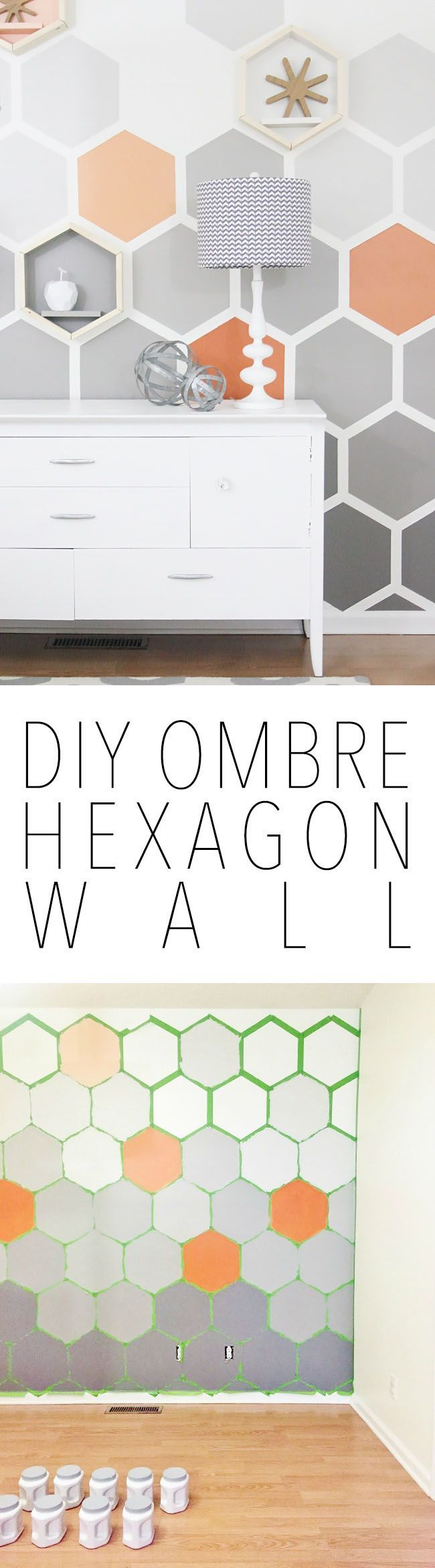 DIY Ombre Hexagon Wall