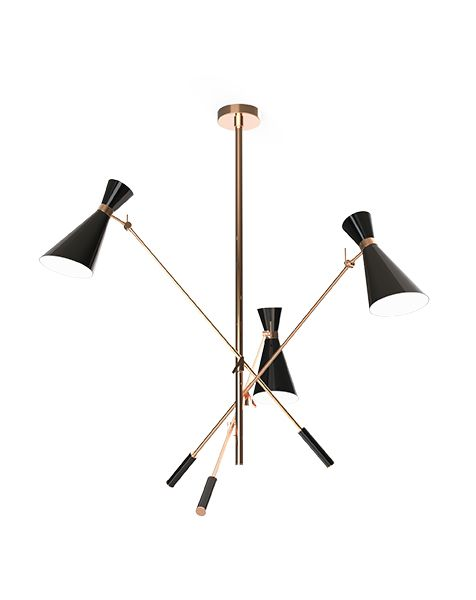 This unique colorful ceiling lamp fills any home with elegance and brings joy to it. Handmade in brass and with lampshades in aluminium, this joyfull vintage lamp is suitable to any happy living room or kitchen