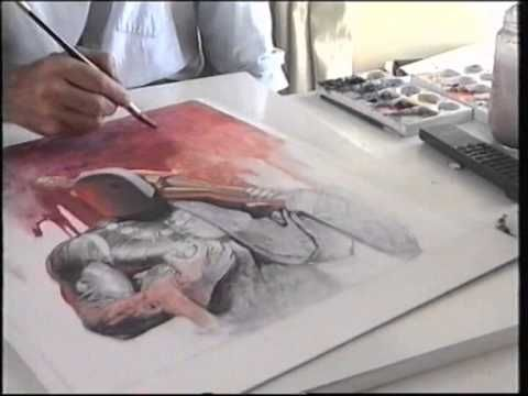Don Lawrence paints Trigan Empire cover (2/2) - YouTube