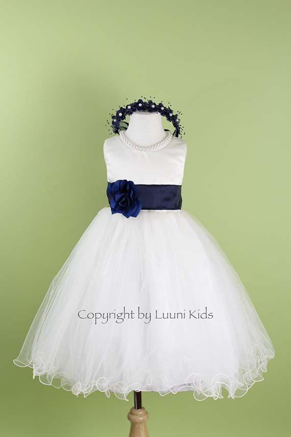 Flower Girl Dress - IVORY Wavy Bottom Dress with Blue NAVY Sash - Bridesmaid, Communion, Easter, Wedding - Toddler, Child, Teen (FLI) on Etsy, $38.00