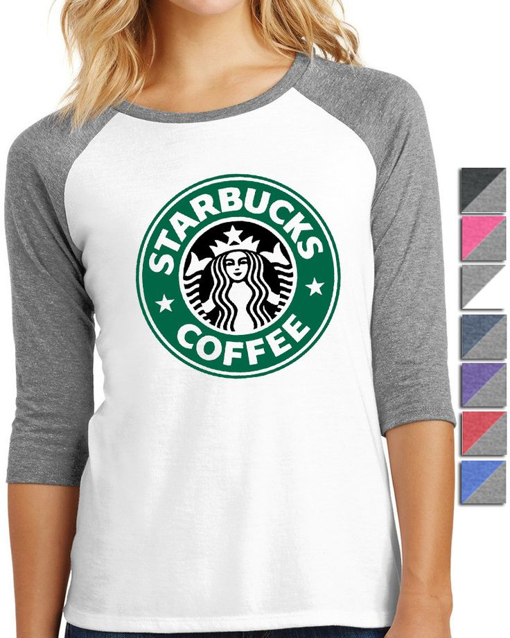 Starbucks Coffee Shirt Ladies 3/4-Sleeve Raglan A perfectly classic raglan created with nothing but comfort in mind. - 4.5-ounce, 50/25/25 poly/ring spun combed cotton/rayon, 32 singles - Tear-away ta