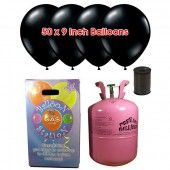 Disposable Helium Gas Cylinder with 50 Black Balloons and Curling Ribbon £29.99