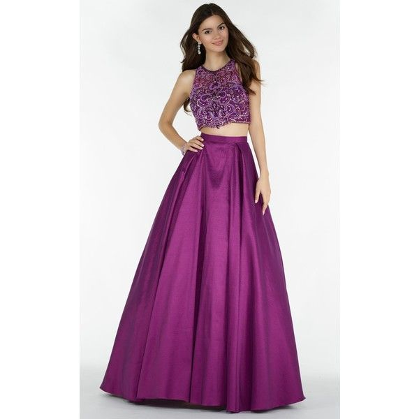 Alyce 6739  Long High Neckline Sleeveless ($432) ❤ liked on Polyvore featuring dresses, gowns, berry, formal dresses, long formal dresses, purple formal dresses, long purple dress, long evening dresses and long lace dress