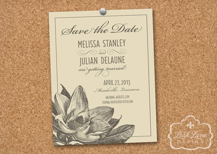 Southern Magnolia Wedding Save the Date Printable Card - Neutral Colors by LeahLaneDesign on Etsy https://www.etsy.com/listing/153653062/southern-magnolia-wedding-save-the-date