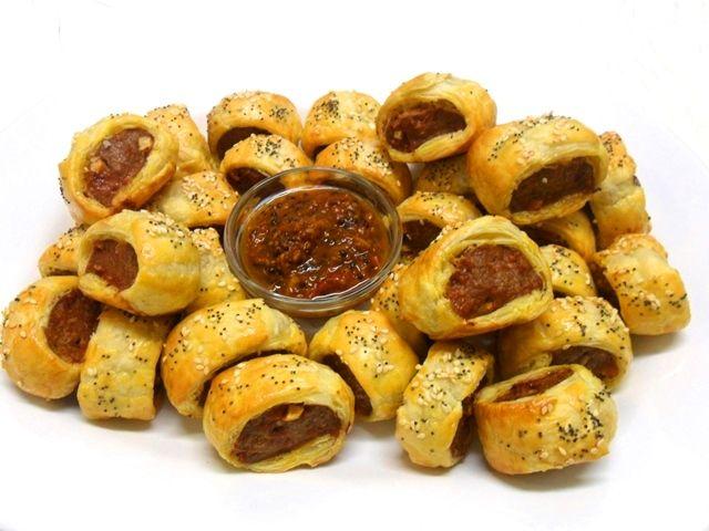 Sausage, apple & fennel rolls with tomato kasundi