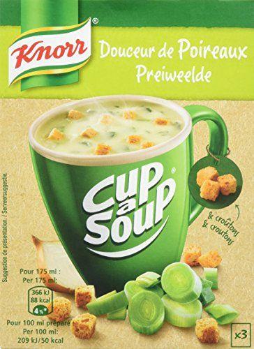 Knorr Soupe Instantanée Cup a Soup Douceur de Poireaux 3 x 17 g – Lot de 6: 51 gé Poireaux issus de l'agriculture durable Sans exhausteur…