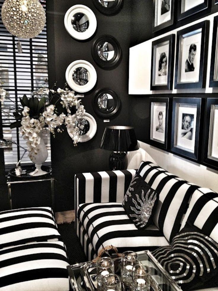 B&W decor - LOVE the stripes!!! Classic Casa's