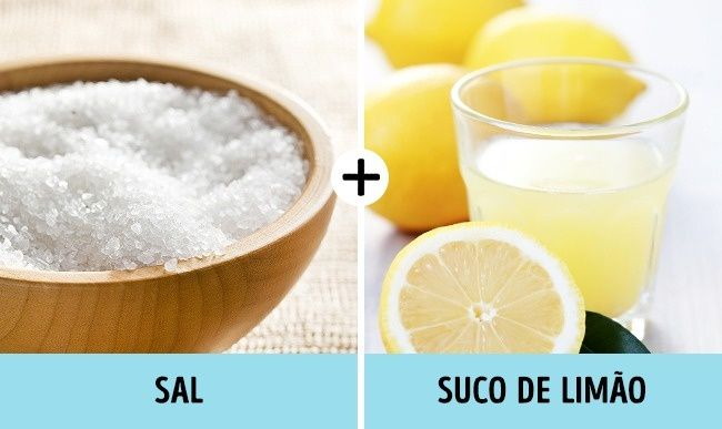 Ferrugem: É mais fácil do que parece. Polvilhe um pouco de sal sobre a ferrugem e esfregue meio limão. O limão dissolve o sal, que suga a ferrugem. Deixe à noite e limpe pela manhã.