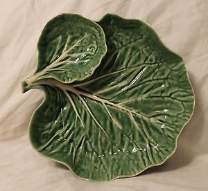 Bordallo Pinheiro Portugal Cabbage Leaf Green 1 Piece Chip and Dip Bowl Tray - have!!!