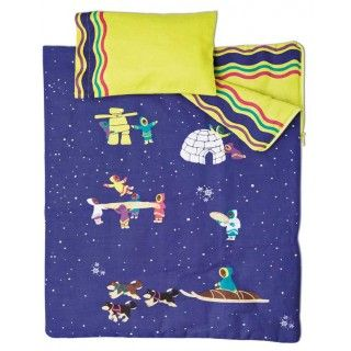 Arctic Fun Bedding: Images of northern fun and adventure set against an Arctic night sky decorate Saila's cozy comforter which is also a sleeping bag.  The bright green on the inside of the comforter is repeated on the fitted sheet with dust ruffle and pillow case.  A covered mattress and pillow are included.