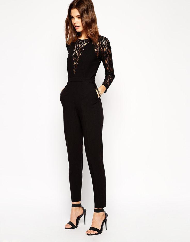 Black Long Sleeve Contrast Lace Jumpsuit - abaday.com