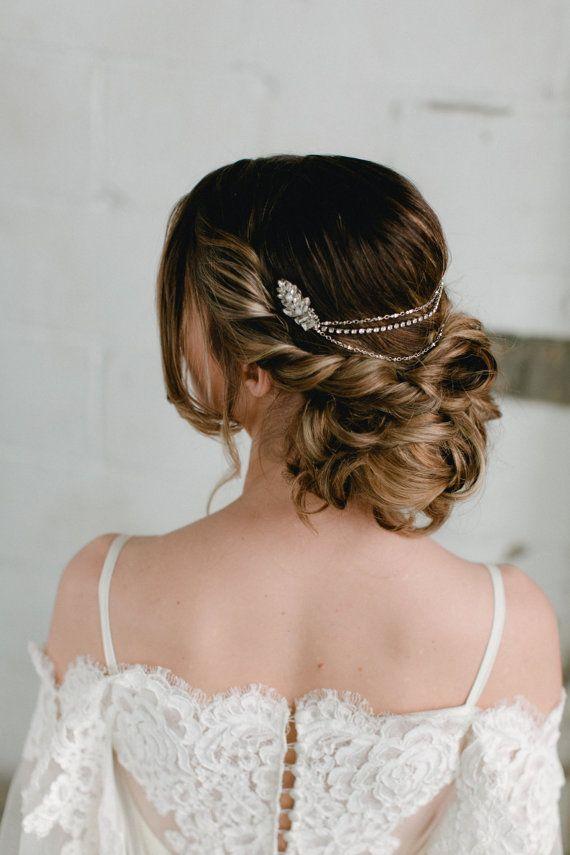 Stella Art Deco Glam Bridal Headpiece Glamorous Crystal And Pearl Bohemian Headband Boho Hair Vine Comb Wed Hair Styles Wedding Hairstyles Boho Hair Vines