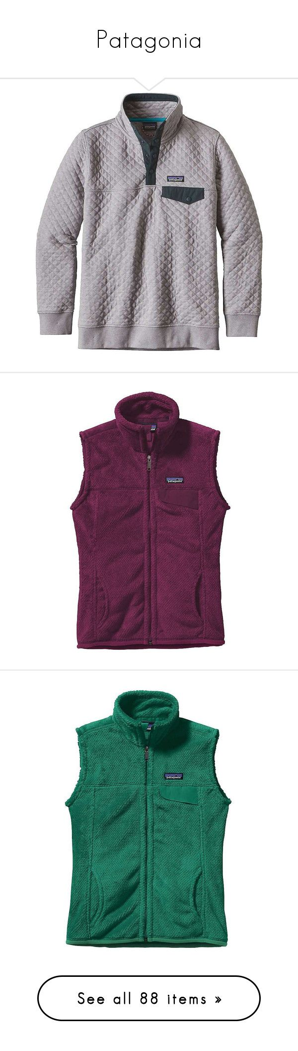 """""""Patagonia"""" by katieduffyy ❤ liked on Polyvore featuring drifter grey, cotton jersey, patagonia, outerwear, vests, purple waistcoat, purple vest, zipper vest, zip vest and green vest"""
