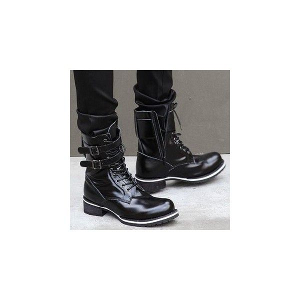 Lace-Up Military Boots (1 470 ZAR) ❤ liked on Polyvore featuring shoes, boots, footware, black army boots, black shoes, laced up boots, combat booties and military lace up boots