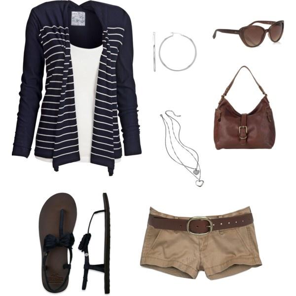 navy and khaki: Fashion, Style, Dream Closet, Khaki Shorts, Cardigan, Spring Summer, Summer Outfits, Navy, Longer Shorts