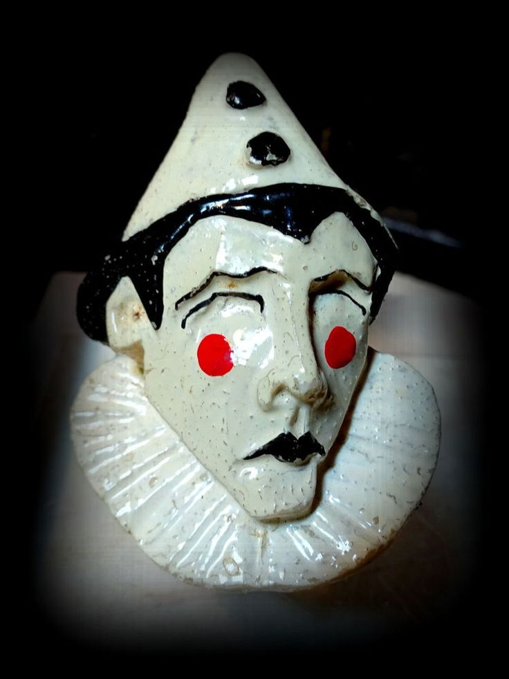 Rare Hand carved  painted Art Deco Pierrot Plastic Composition Bust Brooch