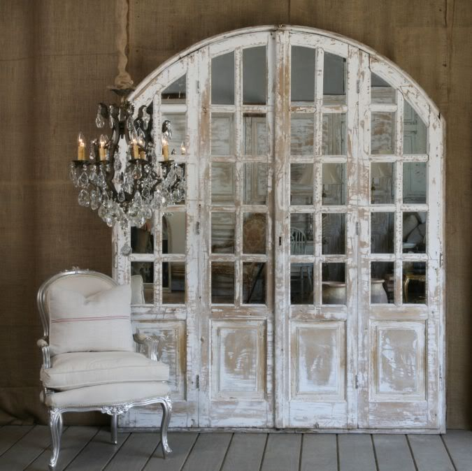 Vintage mirrored arched door ~ display piece