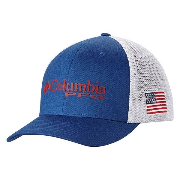 Columbia Sportswear Men's Pfg Mesh Ball Cap // Comes in a variety of colors, each featuring a different fish or pattern. It uses superbly comfortable FlexFit, which consists of woven spandex and ergonomic design to create an incredibly secure fit.