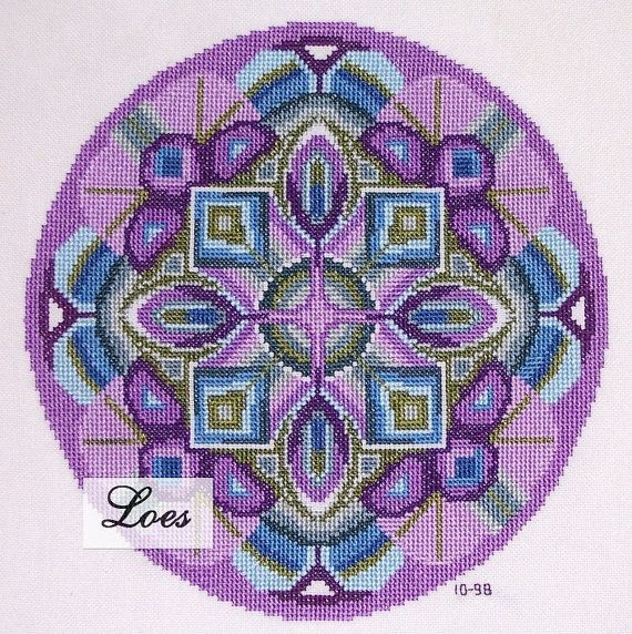 Pattern available via our EtsyShop Mandala cross-stitch pattern, based on DMC 6 strand floss, 12 different colours, 25 stitches per inch will make it 9 inch diameter