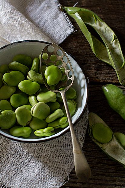 Labbonen! broad beans Color. Partial view. Background is folded linen and partial view of wood. Repetition of the product outside the bowl, and repetition of the round forms in the spoon holes