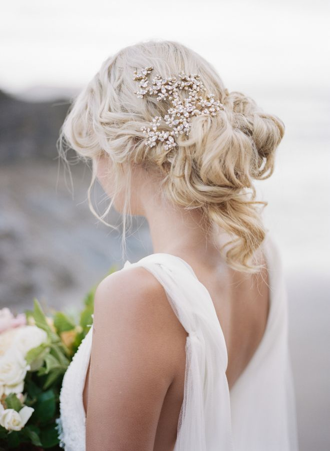 Messy perfection with a pretty hair piece: http://www.stylemepretty.com/2015/09/05/pops-of-pretty-4/