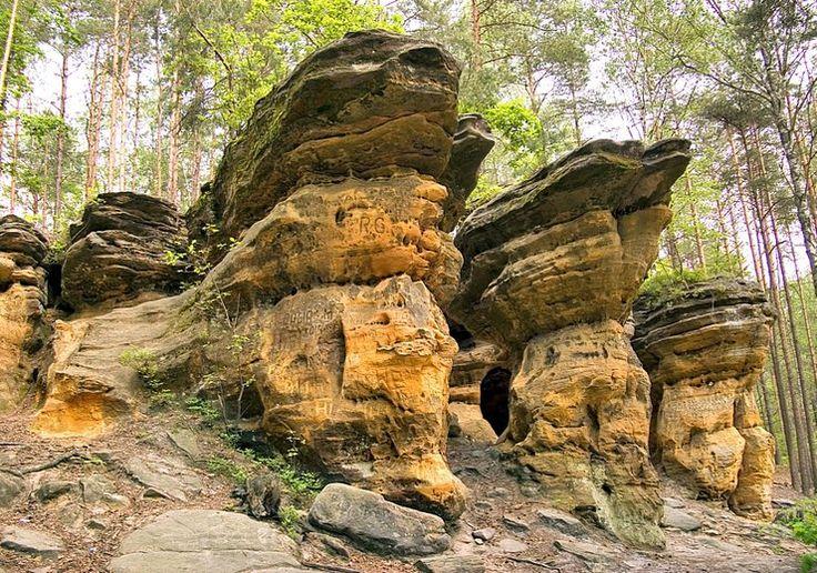 """Jednym z najmniej znanych regionów Gór Świętokrzyskich jest Ziemia Konecka. Jej ozdobą jest rezerwat """"Piekło"""" - grupa ciekawych skałek piaskowcowych, otoczonych ładnym lasem, który leży nieopodal Niekłania, przy drodze z Odrowąża do Chlewisk."""