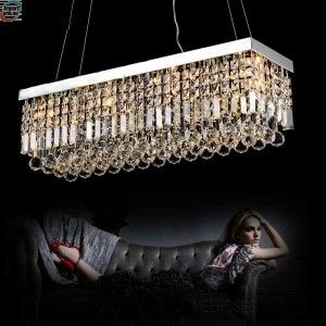 Rektangel krystall lysekrone Light for Dining Room , Crystal Suspension lys ( MD5010MERS )