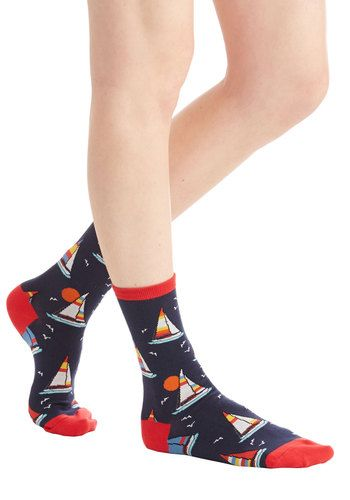 Sea You There Socks. This afternoon finds you making the rounds in these nautical socks. #gold #prom #modcloth