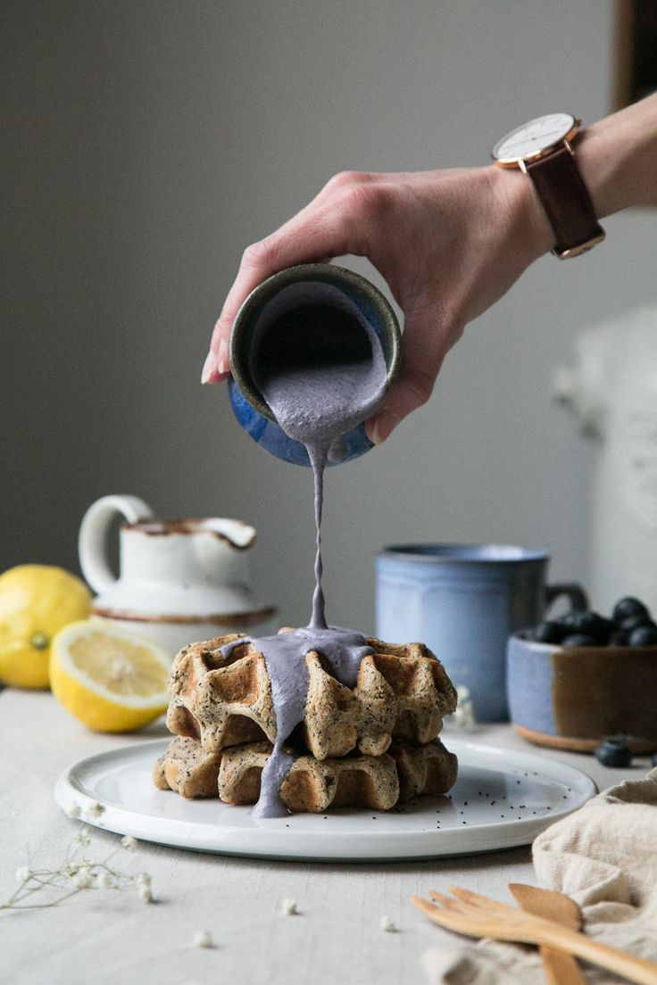 Lemon Poppy Seed Waffles + Blueberry Cashew Cream (Vegan + Gluten-Free) by The Green Life