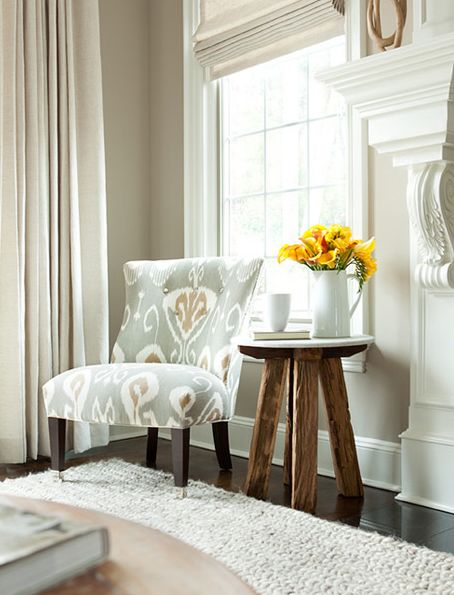 Suzie: The Elegant Abode - Elegant living room with cafe au lait walls paint color, low chair ...