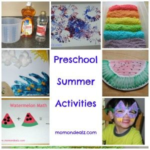 Preschool Summer Activities!   Includes a paper towel roll firework craft - fun for the 4th