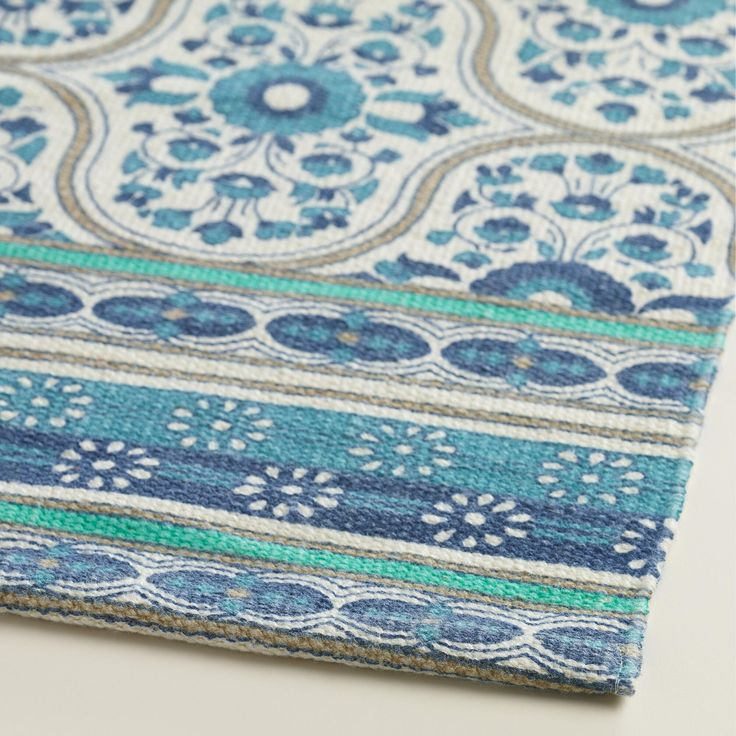 From Worldmarket.com · 2u0027x3u0027 Blue Floral Reversible Indoor Outdoor Rug |  Made From Recycled Plastic
