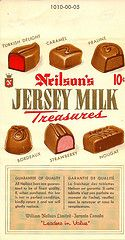 Neilson Jersey Milk Treasures Chocolate Bar 1960's...10 cents
