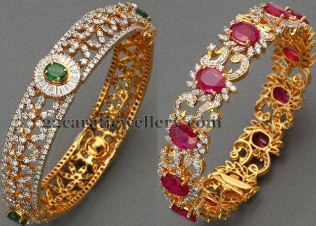 Jewellery Designs: Diamond Bangles by ANS