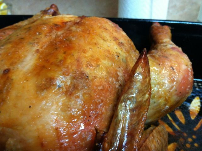 Roasted/Baked Whole Chicken with crispy skin. Delicious every time.