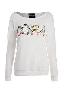 Sweatshirt blanc OÔRA imprimé jungle