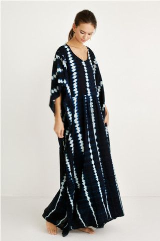 Indigo Shibori Caftan by Proud Mary. Made with organic cotton voile and locally harvested indigo; handwoven, dyed and sewn in Mali, West Africa.