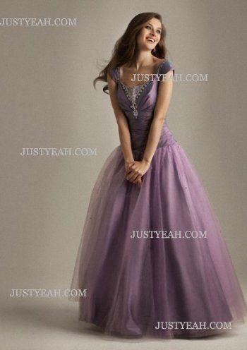 A-line Scoop Ruffles Short Tulle Grape Evening Dresses