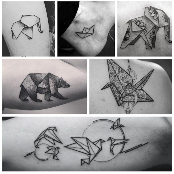 tatuajes de origami grullas aves