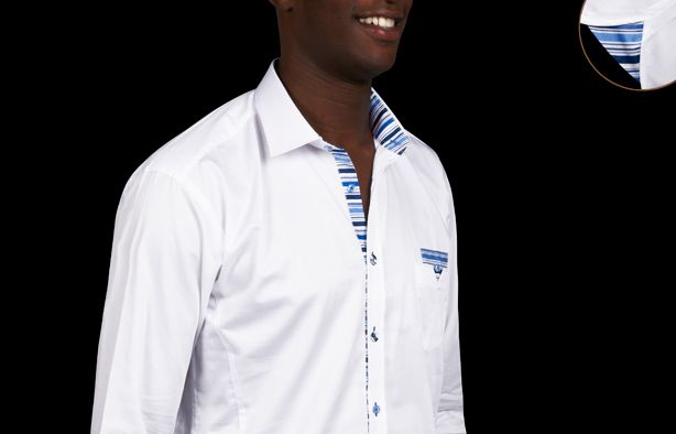 White Shirt Twisted Striped Lining, Waisted-fit - Dress Shirts for Men - French-Shirts.com $89.90