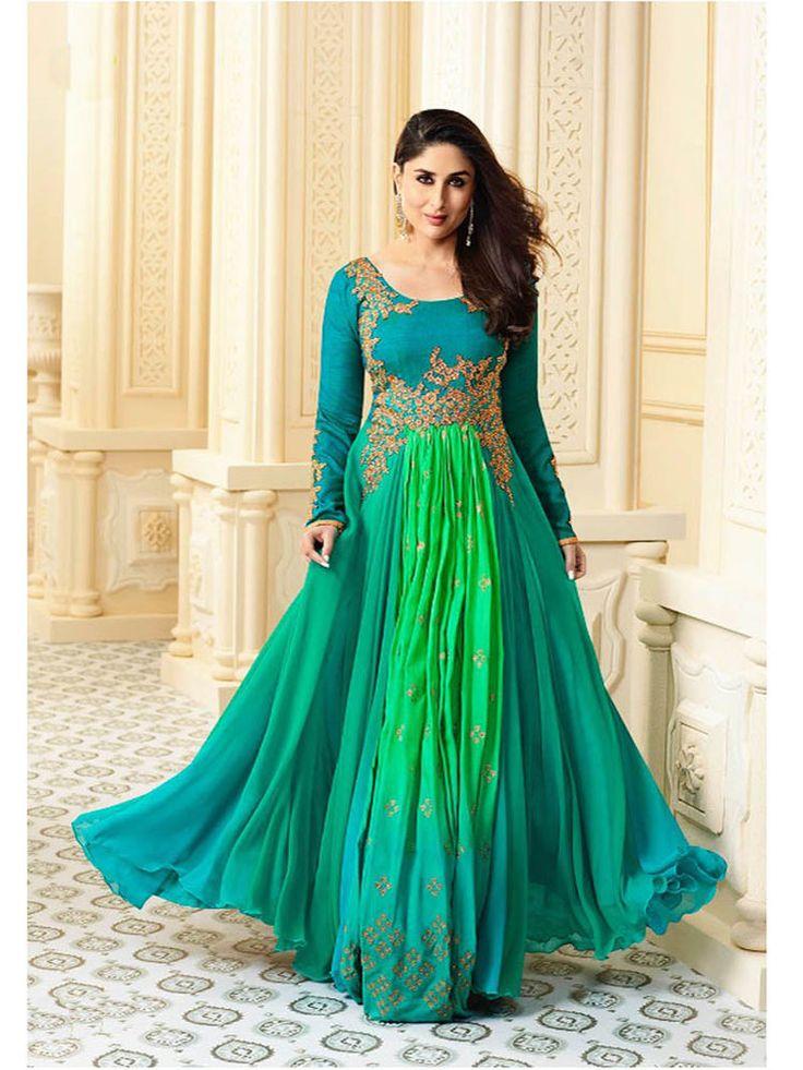 Indian ethnic Bollywood Party wear embroidered Unstitched Anarkali Salwar Suit #Indian #SalwarKameez